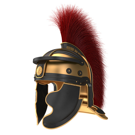 Photo for Isolated illustration of a Roman Helmet with a scarlet plume - Royalty Free Image