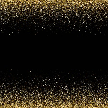 Illustration for Sparkling glitter border, frame. Vector gold decoration. For wedding invitations, party posters, Christmas, New Year and birthday cards. - Royalty Free Image