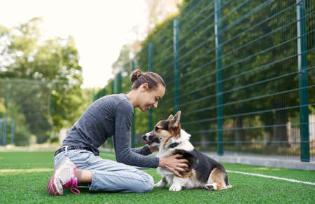 Photo pour Young female owner sitting on the grass and petting the dog. spending time together. Concept friendship with dog and human, dog walking - image libre de droit