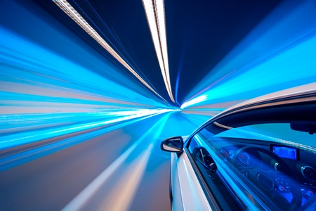 Photo for Abstract Blue color tunnel car driving motion blur - Royalty Free Image
