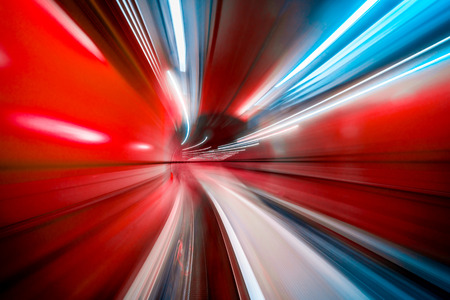 Photo for Abstract colorful concentric light trail accelerating through a tunnel. - Royalty Free Image
