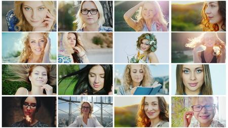 Photo pour Portraits of successful and happy women, a collage of photos - image libre de droit