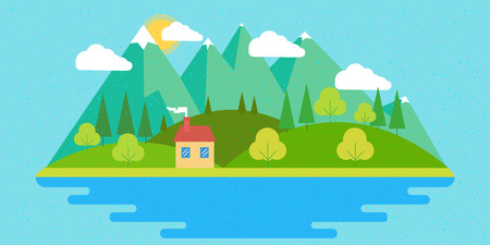 Summer landscape. Nature landscape with sun, mountains and clouds. Sunny day. Flat design illustration.