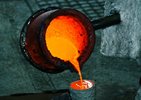 Pouring melted bronze into ceramic shell  Lost wax casting