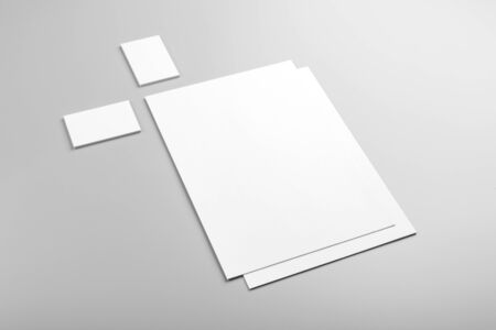 Photo pour Photo. Template for branding identity. For graphic designers presentations and portfolios. Identity Mock-up isolated on gray background. Identity set mock-up. Photo mock up. - image libre de droit