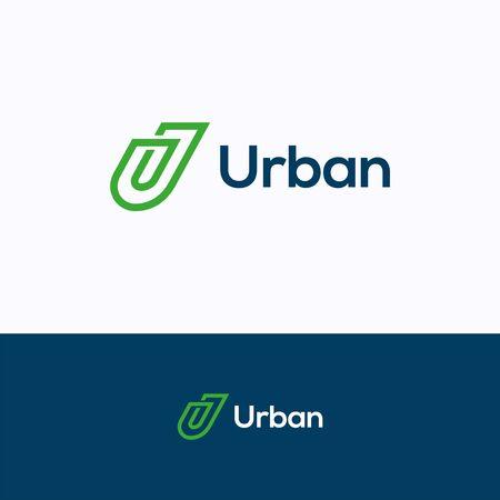 Illustration pour U company logo. Flat line logo template. Clip logotype with letter U - image libre de droit