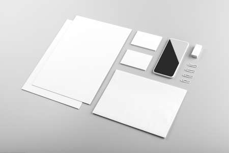 Photo pour Photo. Template for branding identity. For graphic designers presentations and portfolios. Identity Mock-up isolated on gray and white background. Identity set mock-up. Photo mock up. - image libre de droit