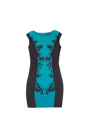 black and turquoise dress with patterned dress on white background