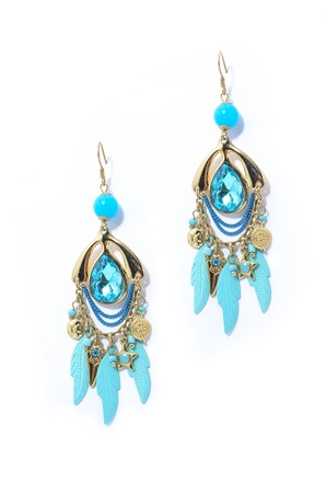earrings with aquamarine on the white background