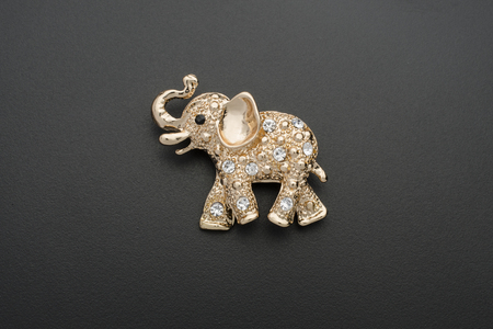 gold elephant brooch isolated on black