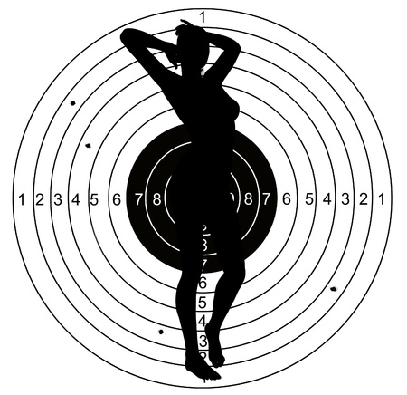 Female Shooting target with holes pierced by bullets