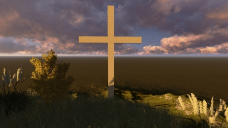 Dramatic sky silhouettes three wooden cross with shafts of sunlight breaking through the clouds