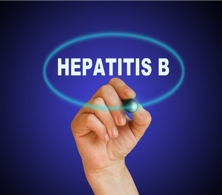 writing word HEPATITIS B with marker on gradient background made in 2d software