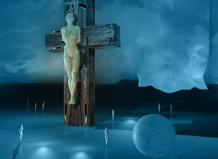 Figure of Crucifixion made in 3dmax end hand painted in photoshop