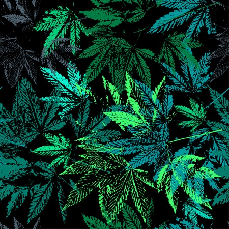 Photo for Vector graphics, artistic, stylized  seamless pattern with the image of the leaves of cannabis. Pattern can be used for fabric design, wallpaper, wrapping papers. - Royalty Free Image