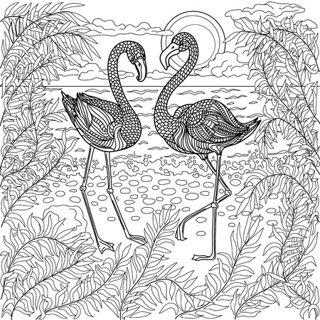 Illustration pour Hand drawn birds - flamingos in a branches tree on the sea beach. Coloring page. - image libre de droit