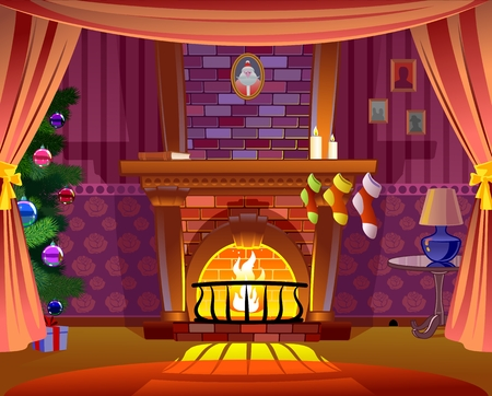 Illustration for Fireplace - Royalty Free Image