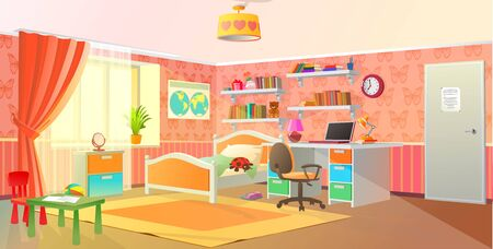 Vektor für Girls room interior, teenage room, pink colors, vector illustration. - Lizenzfreies Bild