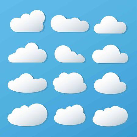 Illustration pour Clouds icon, vector illustration on blue background. - image libre de droit