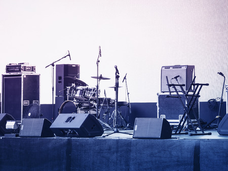 Photo pour Concert Stage Music and Sound Equipment Event background - image libre de droit