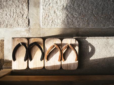 Photo pour Japan Traditional Footwear Zori on cement floor Top view - image libre de droit