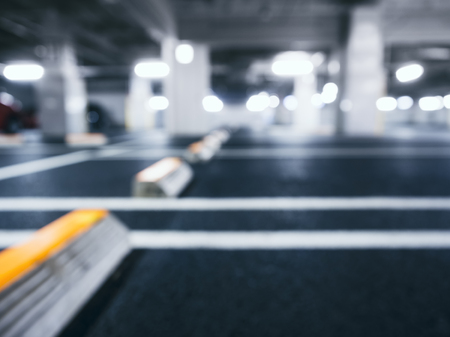 Photo for Blurred car park indoor Basement with Neon Lighting - Royalty Free Image