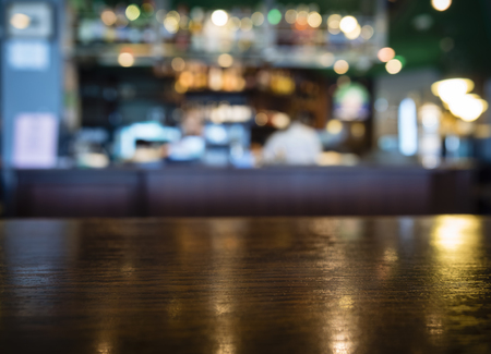 Photo for Table top Counter with Blurred Bar Restaurant Background - Royalty Free Image