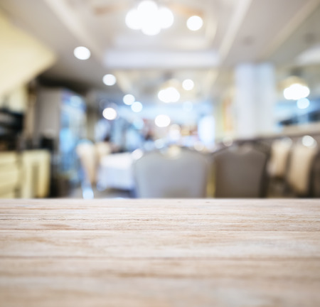 Photo for Table top Counter with Blurred Restaurant Shop interior background - Royalty Free Image