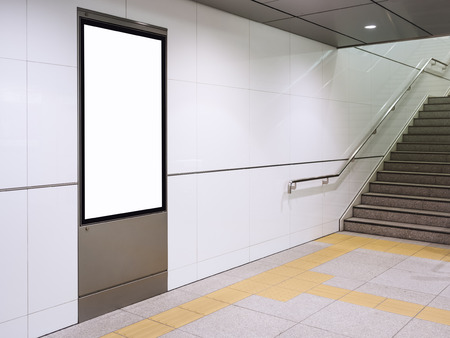 Photo for Poster mock up Display in subway station with stairs - Royalty Free Image