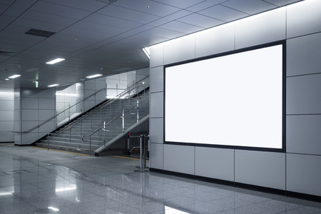 Photo for Billboard Banner signage mock up display in subway with stairs - Royalty Free Image