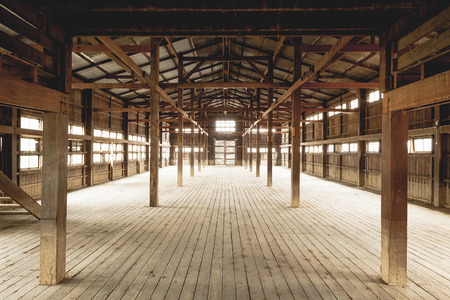 Barn Interior Wooden Construction perspective
