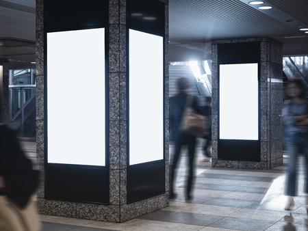 Photo pour Mock up Blank Poster Banner Public  Lcd media light box Public space Building Blur people - image libre de droit