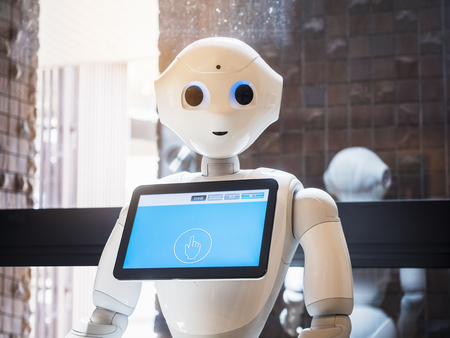 Photo pour Pepper Robot Assistant with Information screen Japan Humanoid technology - image libre de droit