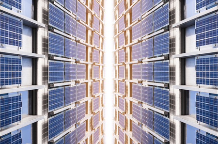 Photo pour Solar Panel clean Energy Industrial utility system Technology background - image libre de droit