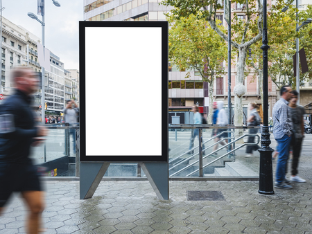 Photo for Mock up Banner Signboard stand Media outdoor with people walking City street - Royalty Free Image