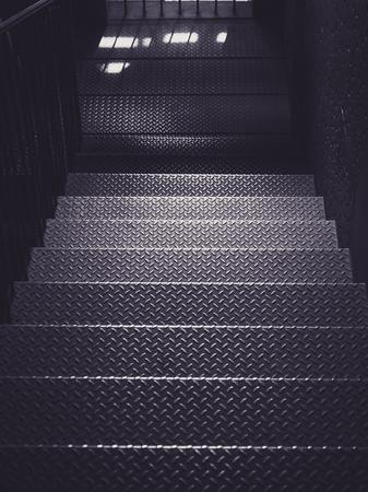 Photo pour Metal stairs step Architecture details Industry background - image libre de droit