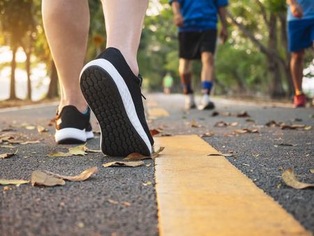 Foto de Man walk in park outdoor People exercise healthy lifestyle - Imagen libre de derechos