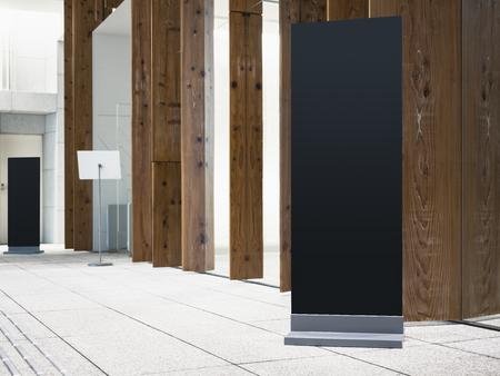 Mock up Black Sign stand Vertical indoor Modern building Directory Signage