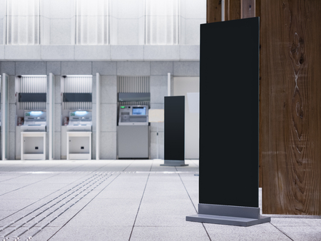 Mock up Black Sign stand Vertical indoor Modern building Directory Signage Business Office