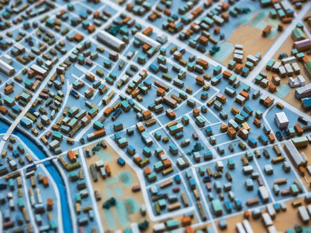 Photo for City Model town Urban plan layout Building city scape - Royalty Free Image
