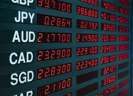 Foto de Currency exchange rate on digital display board Business Finance economic - Imagen libre de derechos