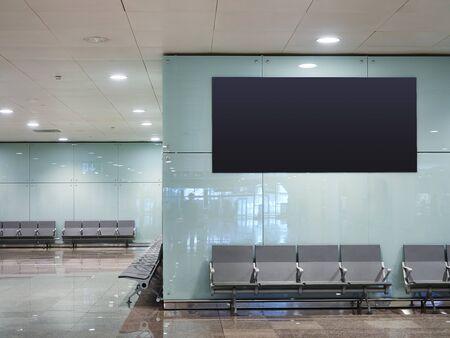Photo pour Mock up Banner digital screen display indoor waiting room Public building Airport gate - image libre de droit