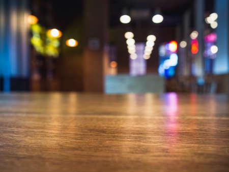 Photo pour Table top counter Blur Bar cafe restaurant interior background - image libre de droit