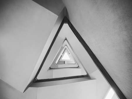 Photo pour Staircase Triangle cement Stairs Interior building Architecture details Abstract background - image libre de droit