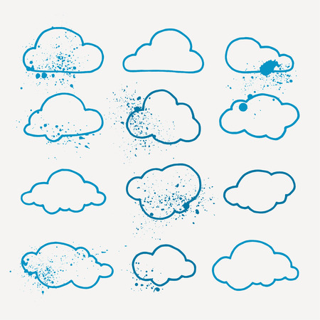 Collection of aquarelle cloud symbols with splashes and splatters. Pack of vector icons.