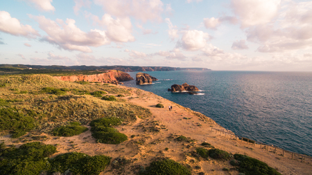 Aerial view om a beautiful cliffs on west coast of Portugal near Carrapateira, Rota Vicentina.