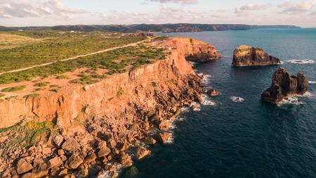 Panoramic view of the ocean and the cliffs of Portugal, near Carrapateira, Rota Vicentina.