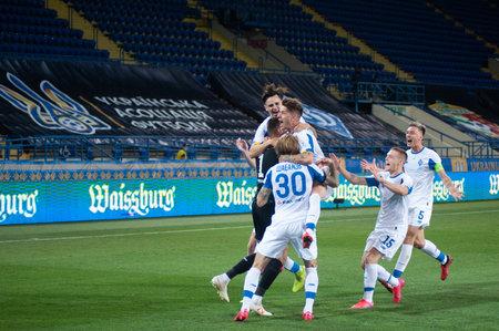 KHARKIV, UKRAINE - JULY 8, 2020: Dynamo Kyiv celebrating win in Ukraine Cup