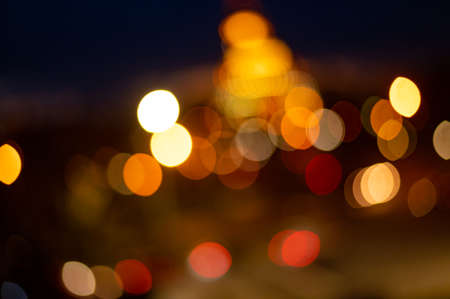 Photo pour Blured lighhts bokeh for background from walking street - image libre de droit