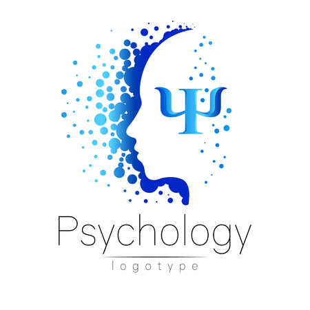 Illustration pour Modern head logo of Psychology. Profile Human. Creative style. Logotype in vector. Design concept. Brand company. Blue color isolated on white background. Symbol for web, print - image libre de droit